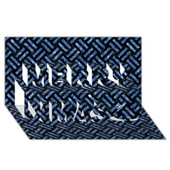 Woven2 Black Marble & Blue Marble Merry Xmas 3d Greeting Card (8x4)