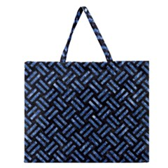 Woven2 Black Marble & Blue Marble Zipper Large Tote Bag