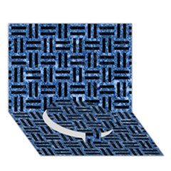 Woven1 Black Marble & Blue Marble (r) Circle Bottom 3d Greeting Card (7x5)