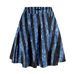 Skin4 Black Marble & Blue Marble (r) High Waist Skirt