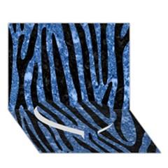Skin4 Black Marble & Blue Marble Heart Bottom 3d Greeting Card (7x5) by trendistuff