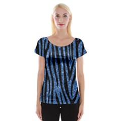 Skin4 Black Marble & Blue Marble Cap Sleeve Top by trendistuff