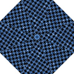 Houndstooth2 Black Marble & Blue Marble Straight Umbrella by trendistuff