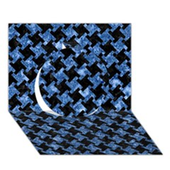 Houndstooth2 Black Marble & Blue Marble Circle 3d Greeting Card (7x5) by trendistuff