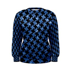 Houndstooth2 Black Marble & Blue Marble Women s Sweatshirt by trendistuff