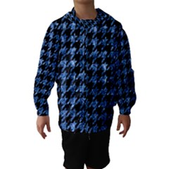 Houndstooth1 Black Marble & Blue Marble Hooded Wind Breaker (kids) by trendistuff