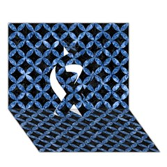 Circles3 Black Marble & Blue Marble Ribbon 3d Greeting Card (7x5) by trendistuff
