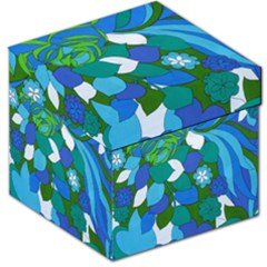 60s Blue Floral Storage Stool 12   by TCH01