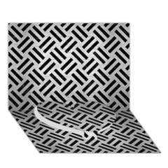 Woven2 Black Marble & Silver Brushed Metal (r) Heart Bottom 3d Greeting Card (7x5)