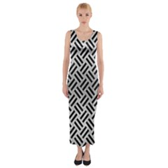 Woven2 Black Marble & Silver Brushed Metal (r) Fitted Maxi Dress by trendistuff