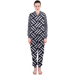 Woven2 Black Marble & Silver Brushed Metal Hooded Jumpsuit (ladies)