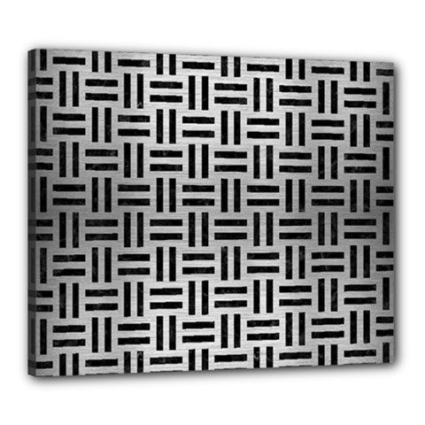 Woven1 Black Marble & Silver Brushed Metal (r) Canvas 24  X 20  (stretched)