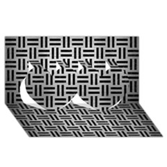 Woven1 Black Marble & Silver Brushed Metal (r) Twin Hearts 3d Greeting Card (8x4)