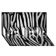 Skin4 Black Marble & Silver Brushed Metal (r) Believe 3d Greeting Card (8x4) by trendistuff