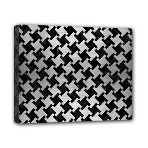 Houndstooth2 Black Marble & Silver Brushed Metal Canvas 10  X 8  (stretched) by trendistuff