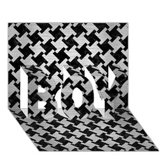 Houndstooth2 Black Marble & Silver Brushed Metal Boy 3d Greeting Card (7x5) by trendistuff