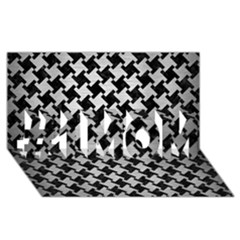 Houndstooth2 Black Marble & Silver Brushed Metal #1 Mom 3d Greeting Cards (8x4) by trendistuff