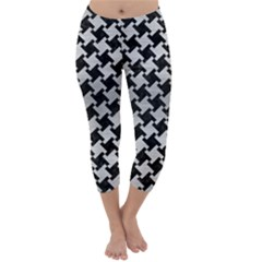 Houndstooth2 Black Marble & Silver Brushed Metal Capri Winter Leggings  by trendistuff