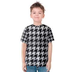 Houndstooth1 Black Marble & Silver Brushed Metal Kids  Cotton Tee by trendistuff