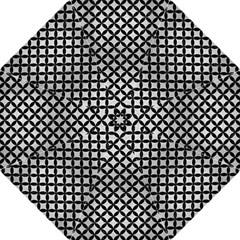 Circles3 Black Marble & Silver Brushed Metal (r) Hook Handle Umbrella (large) by trendistuff