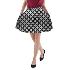 Circles3 Black Marble & Silver Brushed Metal (r) A Line Pocket Skirt