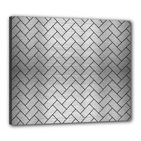 Brick2 Black Marble & Silver Brushed Metal (r) Canvas 24  X 20  (stretched)
