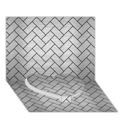 Brick2 Black Marble & Silver Brushed Metal (r) Heart Bottom 3d Greeting Card (7x5) by trendistuff