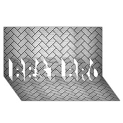Brick2 Black Marble & Silver Brushed Metal (r) Best Bro 3d Greeting Card (8x4)