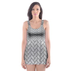 Brick2 Black Marble & Silver Brushed Metal (r) Skater Dress Swimsuit