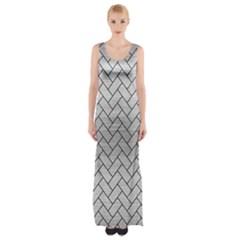 Brick2 Black Marble & Silver Brushed Metal (r) Maxi Thigh Split Dress by trendistuff