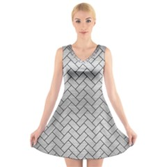 Brick2 Black Marble & Silver Brushed Metal (r) V Neck Sleeveless Dress