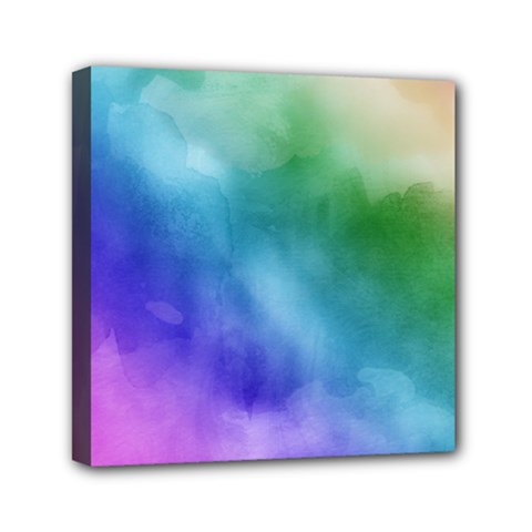 Rainbow Watercolor Mini Canvas 6  X 6  by StuffOrSomething