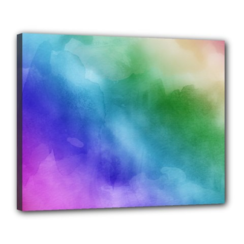 Rainbow Watercolor Canvas 20  X 16  by StuffOrSomething