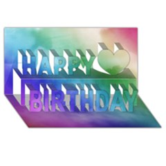 Rainbow Watercolor Happy Birthday 3d Greeting Card (8x4)  by StuffOrSomething