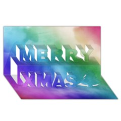 Rainbow Watercolor Merry Xmas 3d Greeting Card (8x4)  by StuffOrSomething