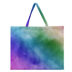 Rainbow Watercolor Zipper Large Tote Bag by StuffOrSomething