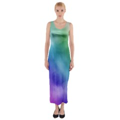 Rainbow Watercolor Fitted Maxi Dress by StuffOrSomething