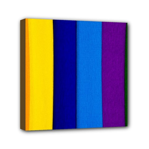 Rainbow Painting On Wood Mini Canvas 6  X 6  by StuffOrSomething