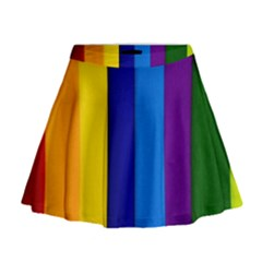 Rainbow Painting On Wood Mini Flare Skirt