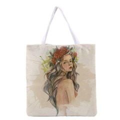 Beauty Of A Woman In Watercolor Style Grocery Tote Bag