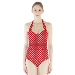 Dots Red Women s Halter One Piece Swimsuit by olgart