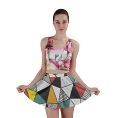 Colorful Geometric Triangles Pattern  Mini Skirt by TastefulDesigns