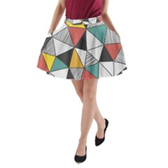Colorful Geometric Triangles Pattern  A Line Pocket Skirt