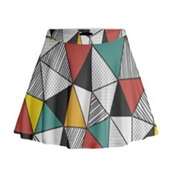 Colorful Geometric Triangles Pattern  Mini Flare Skirt by TastefulDesigns