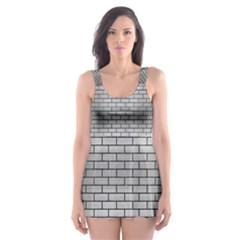 Brick1 Black Marble & Silver Brushed Metal (r) Skater Dress Swimsuit by trendistuff