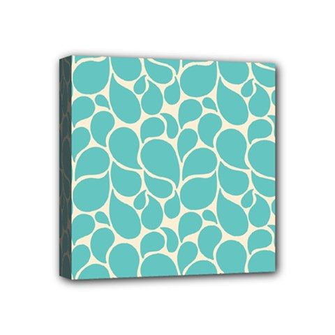 Blue Abstract Water Drops Pattern Mini Canvas 4  X 4  by TastefulDesigns