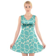 Blue Abstract Water Drops Pattern V-Neck Sleeveless Skater Dress by TastefulDesigns