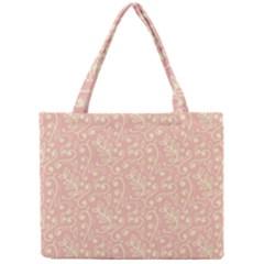 Girly Pink Leaves And Swirls Ornamental Background Mini Tote Bag by TastefulDesigns