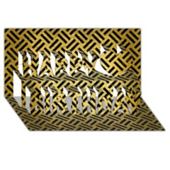 Woven2 Black Marble & Gold Brushed Metal (r) Happy Birthday 3d Greeting Card (8x4) by trendistuff
