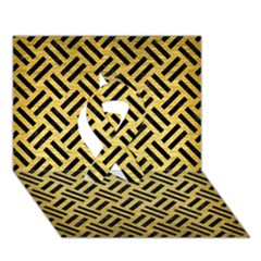 Woven2 Black Marble & Gold Brushed Metal (r) Ribbon 3d Greeting Card (7x5)